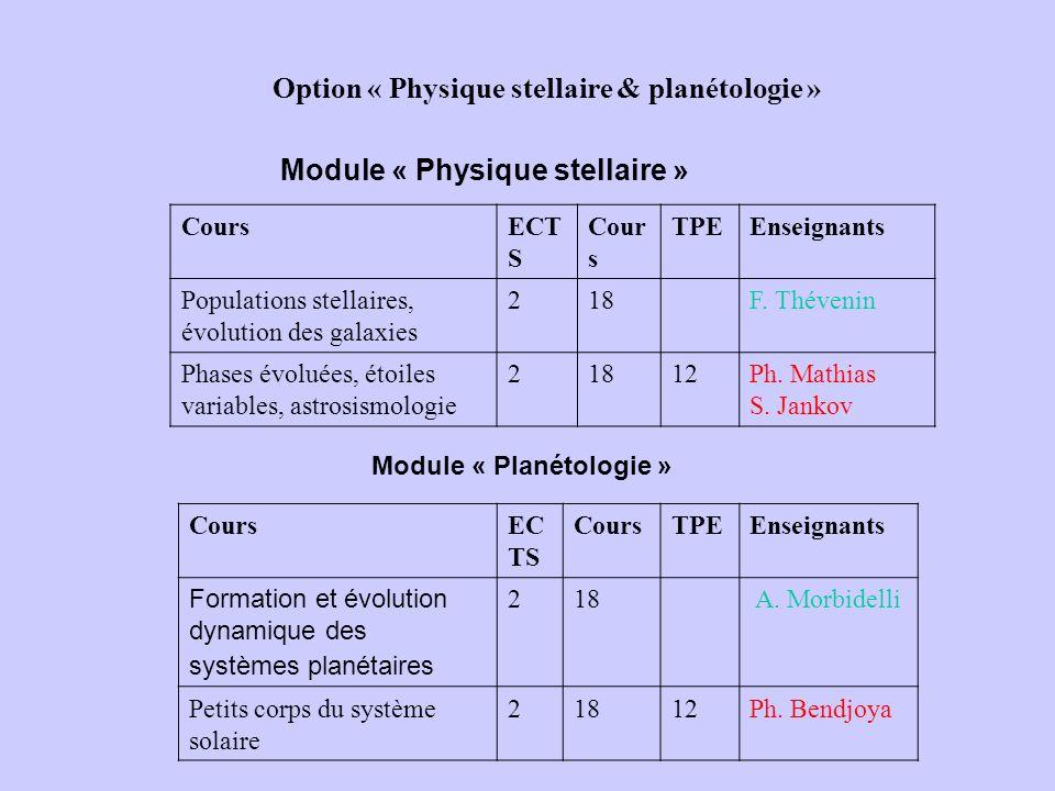 Option « Physique stellaire & planétologie »