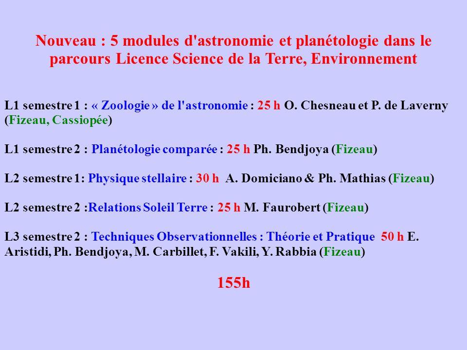 Nouveau : 5 modules d astronomie et planétologie dans le parcours Licence Science de la Terre, Environnement