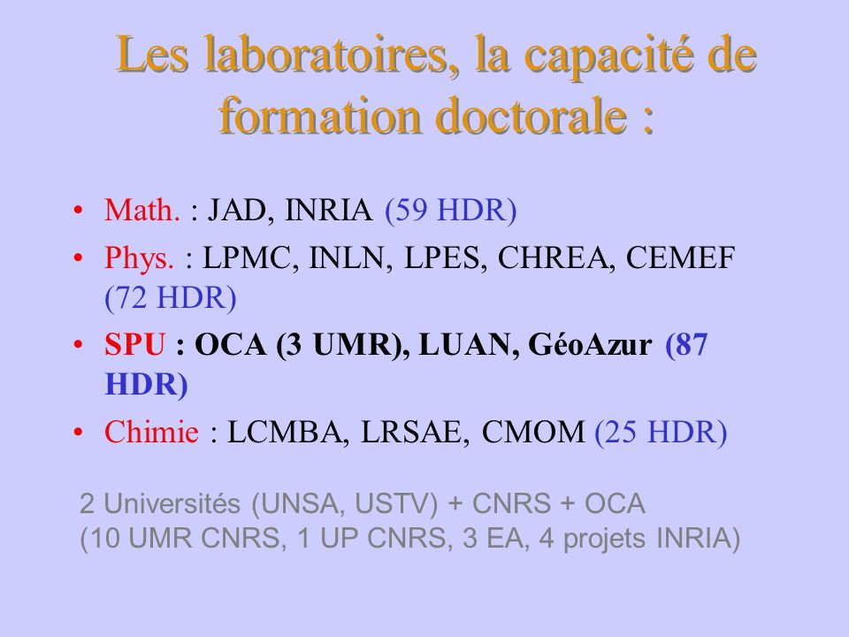Les laboratoires, la capacité de formation doctorale :