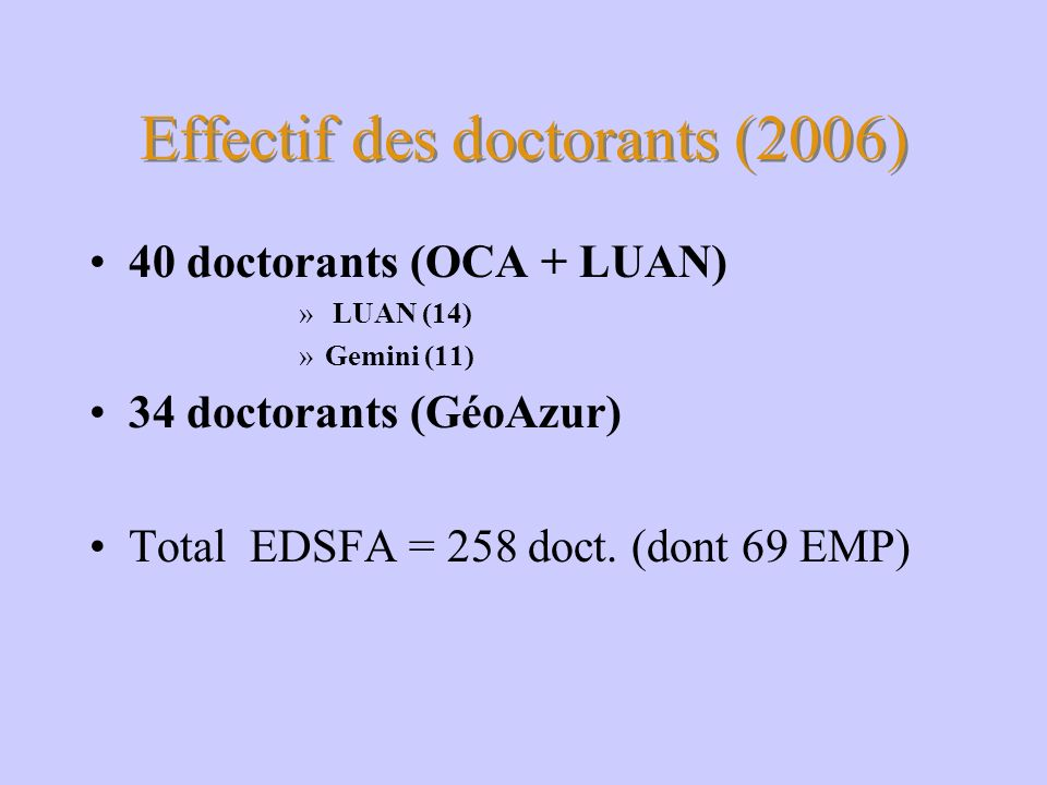 Effectif des doctorants (2006)