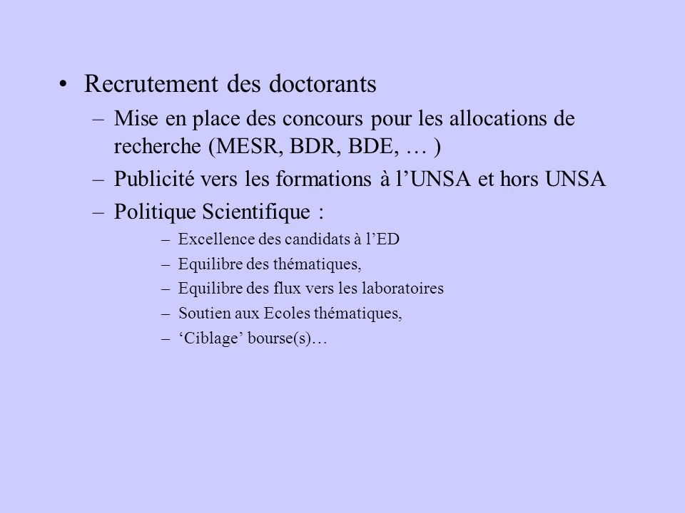 Recrutement des doctorants
