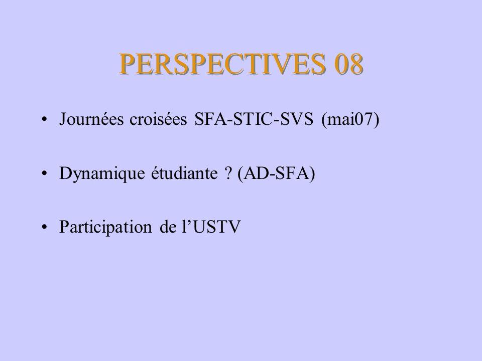 PERSPECTIVES 08 Journées croisées SFA-STIC-SVS (mai07)
