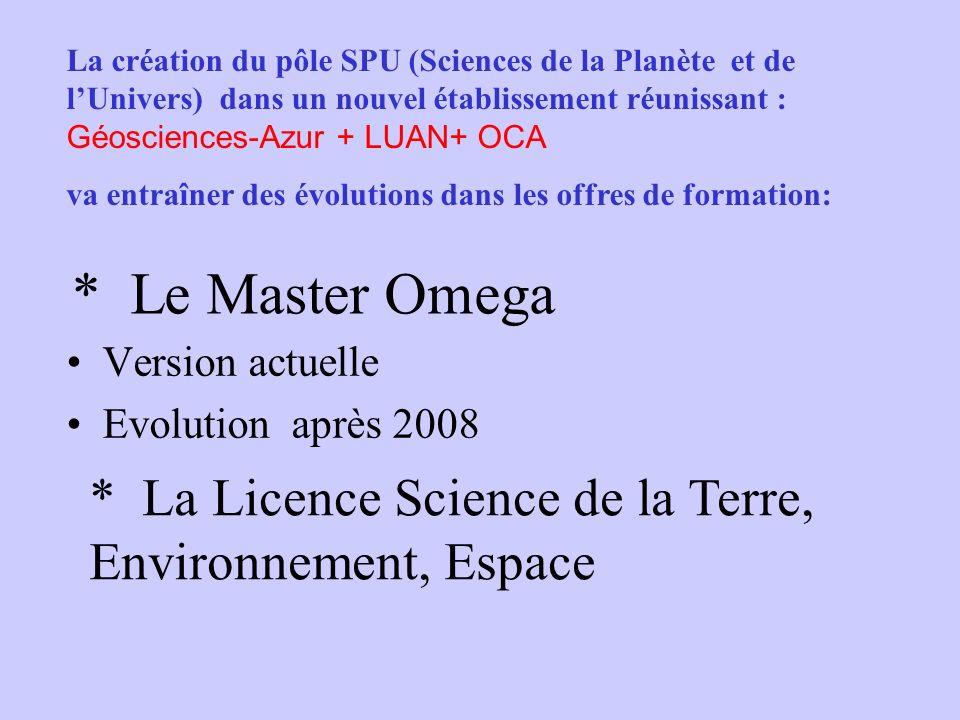 La création du pôle SPU (Sciences de la Planète et de l'Univers) dans un nouvel établissement réunissant : Géosciences-Azur + LUAN+ OCA
