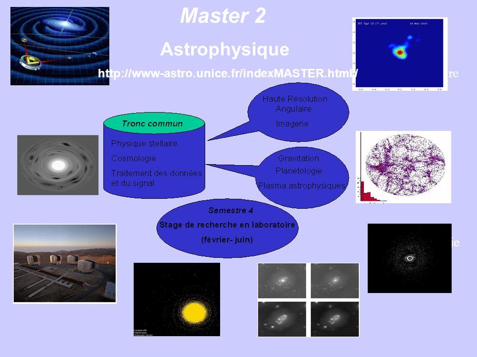 Master 2 Astrophysique Physique stellaire Cosmologie Coronographie