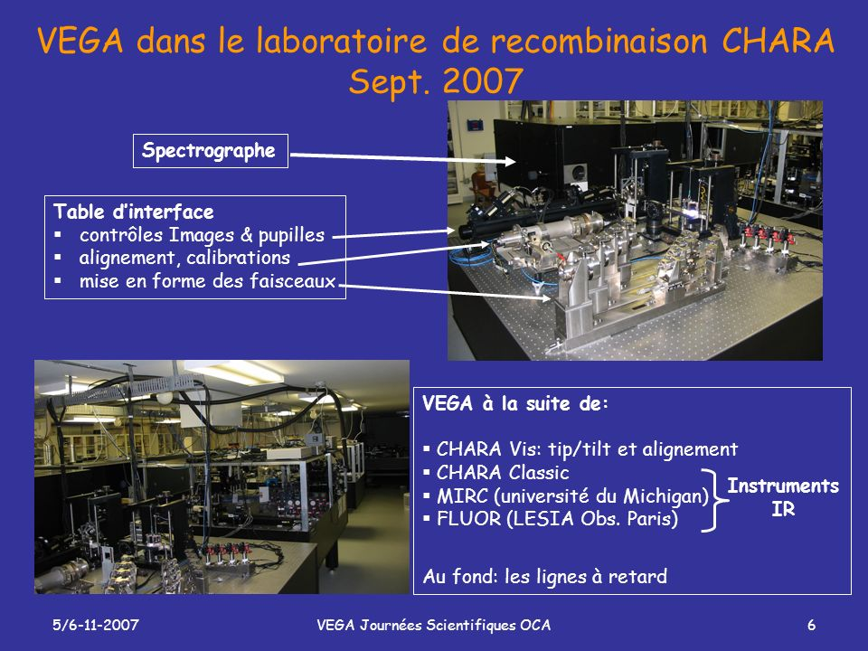 VEGA dans le laboratoire de recombinaison CHARA Sept. 2007