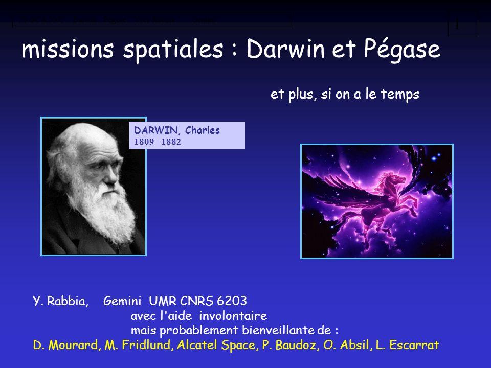 missions spatiales : Darwin et Pégase