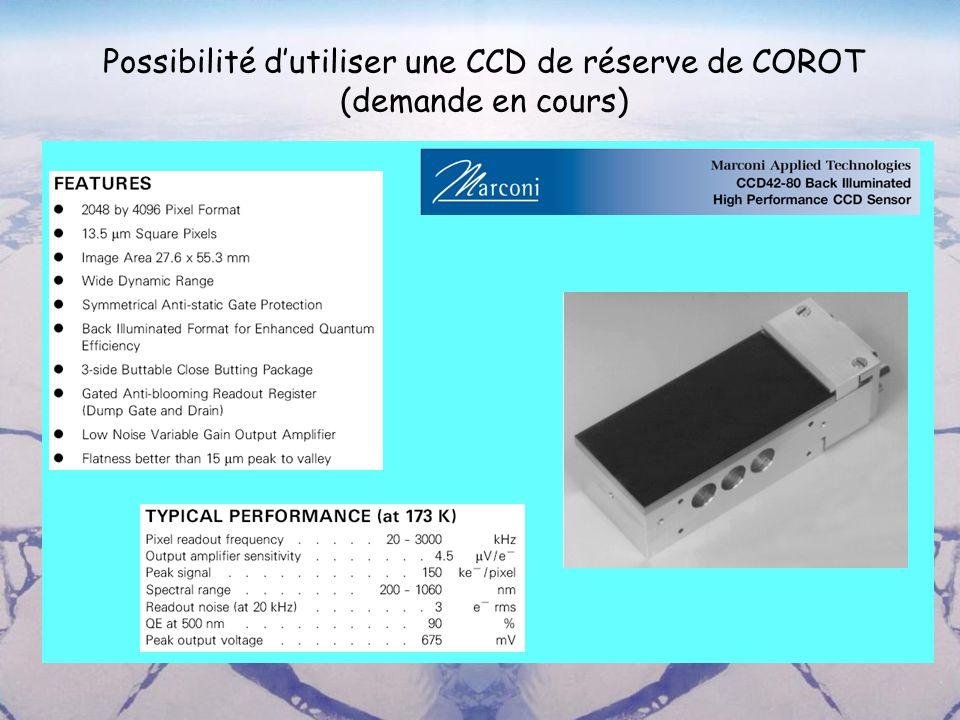 Possibilité d'utiliser une CCD de réserve de COROT