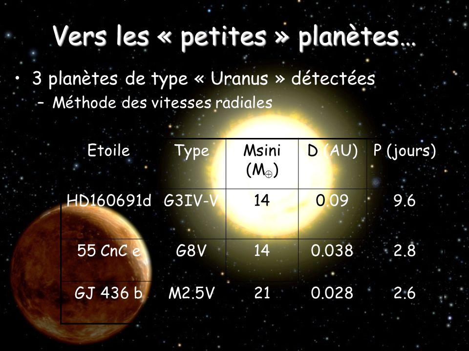 Vers les « petites » planètes…