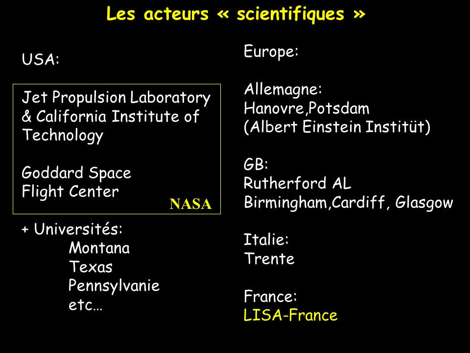 Les acteurs « scientifiques »