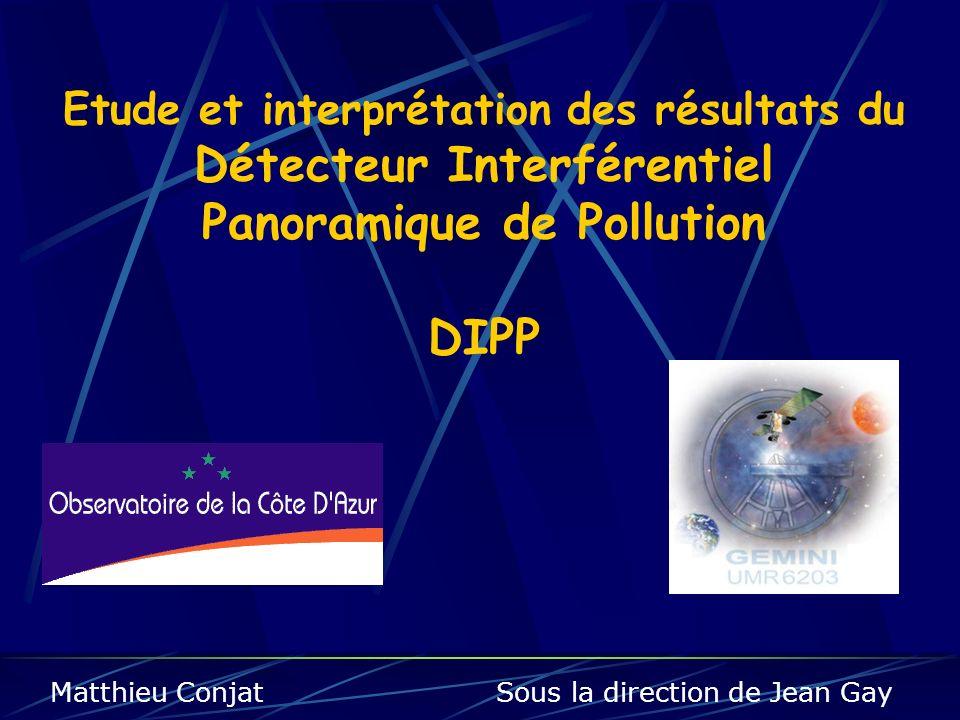 Etude et interprétation des résultats du Détecteur Interférentiel Panoramique de Pollution DIPP