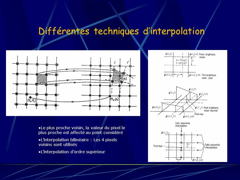 Différentes techniques d'interpolation