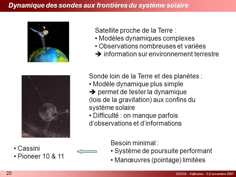 Dynamique des sondes aux frontières du système solaire