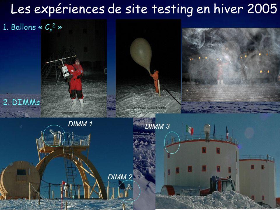 Les expériences de site testing en hiver 2005