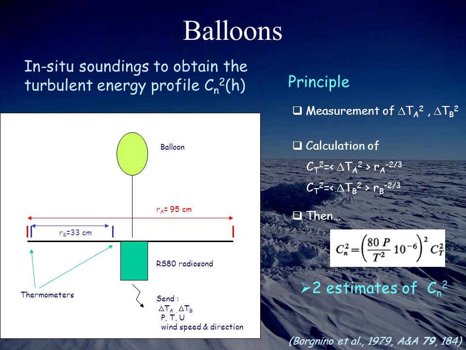 Balloons In-situ soundings to obtain the turbulent energy profile Cn2(h) Measurement of DTA2 , DTB2.