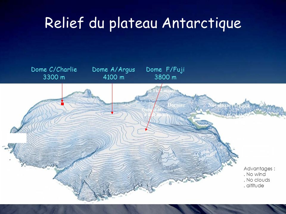 Relief du plateau Antarctique
