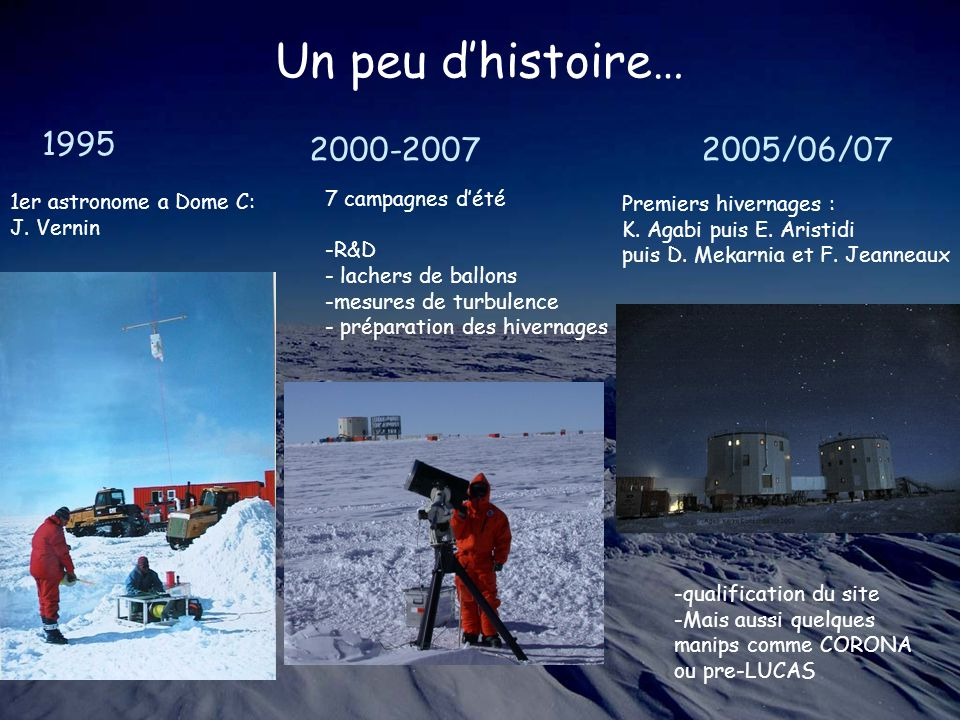 Un peu d'histoire… 1995 2000-2007 2005/06/07 1er astronome a Dome C: