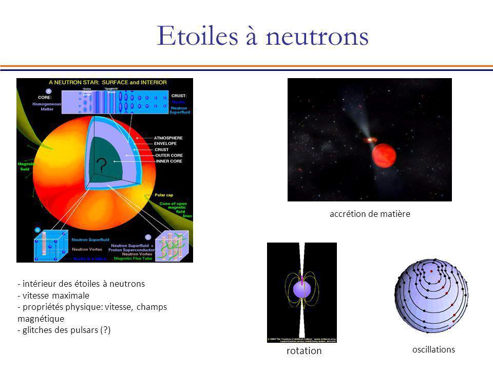 Etoiles à neutrons rotation accrétion de matière