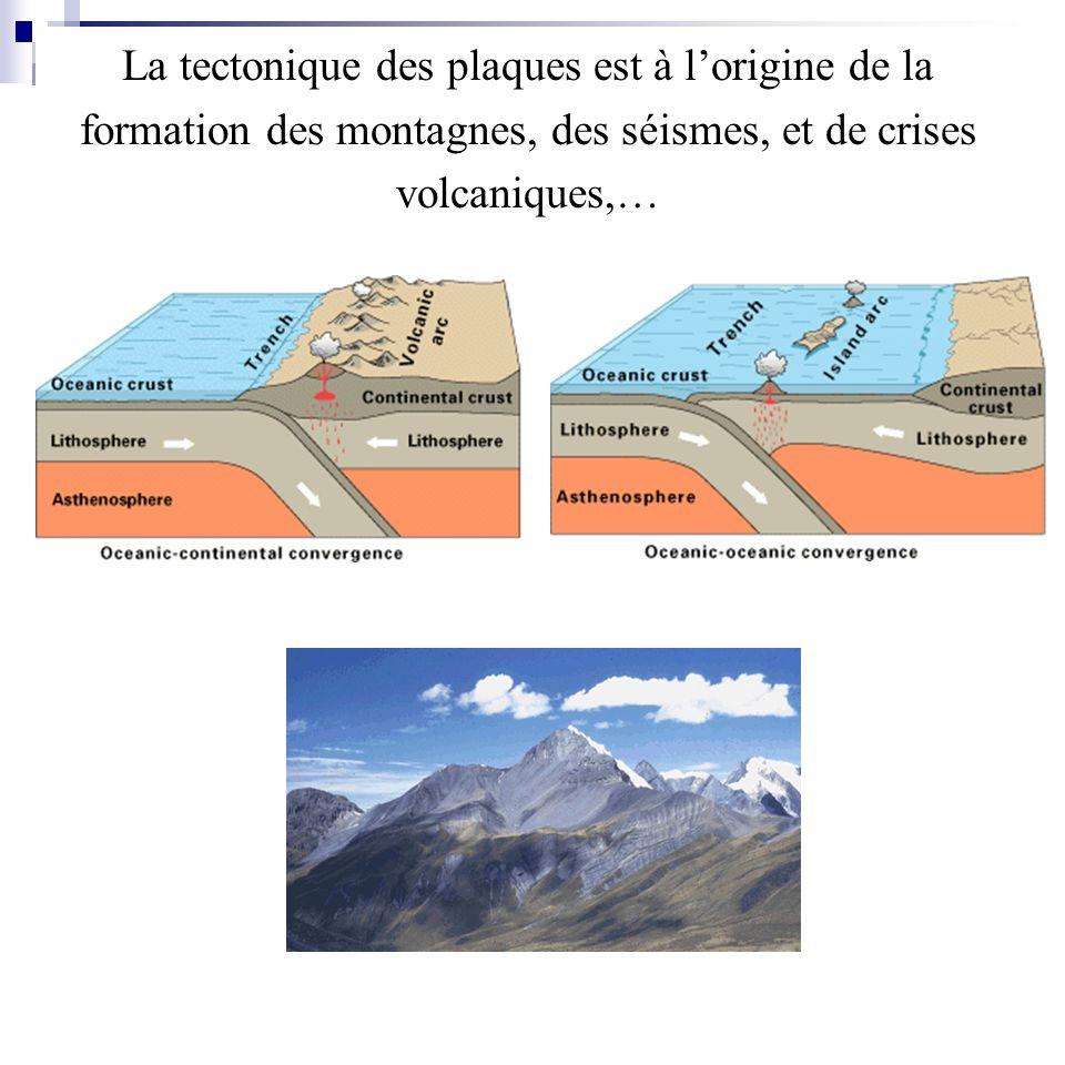 La tectonique des plaques est à l'origine de la formation des montagnes, des séismes, et de crises volcaniques,…