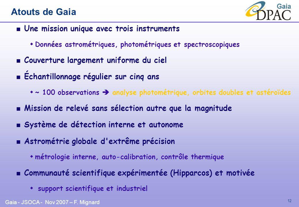 Atouts de Gaia Une mission unique avec trois instruments