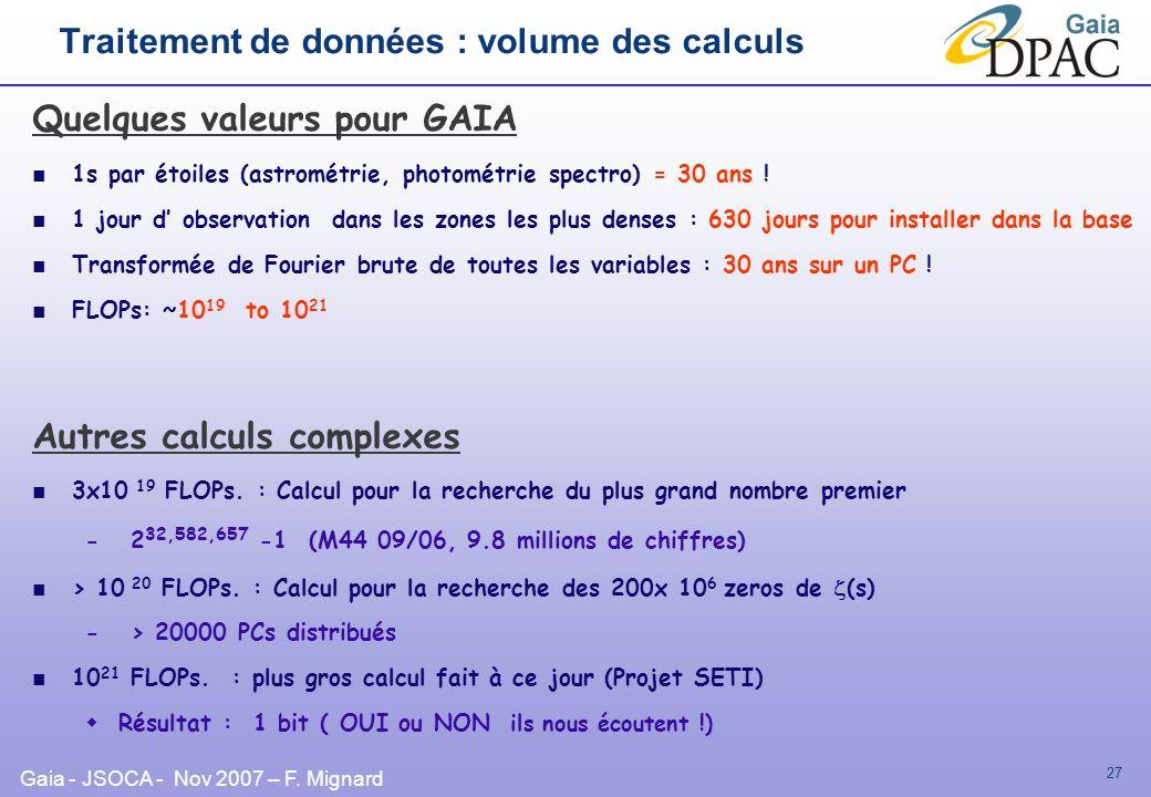 Traitement de données : volume des calculs