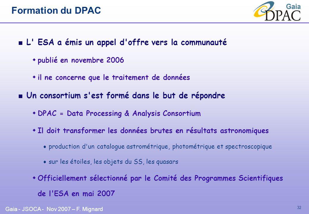 Formation du DPAC L ESA a émis un appel d offre vers la communauté