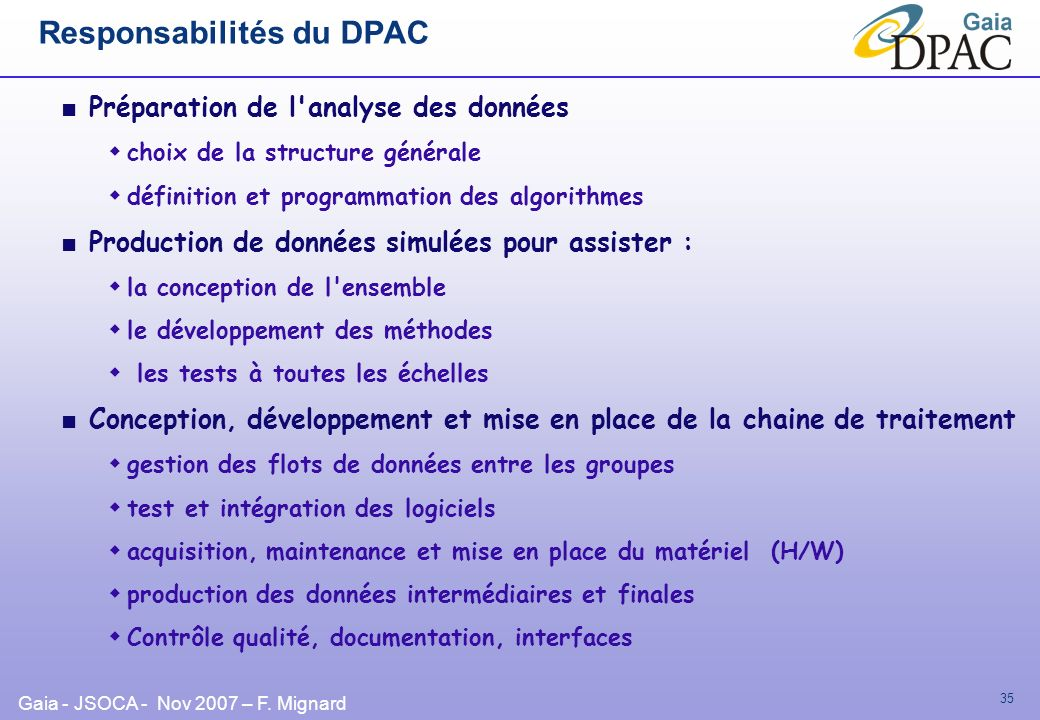 Responsabilités du DPAC
