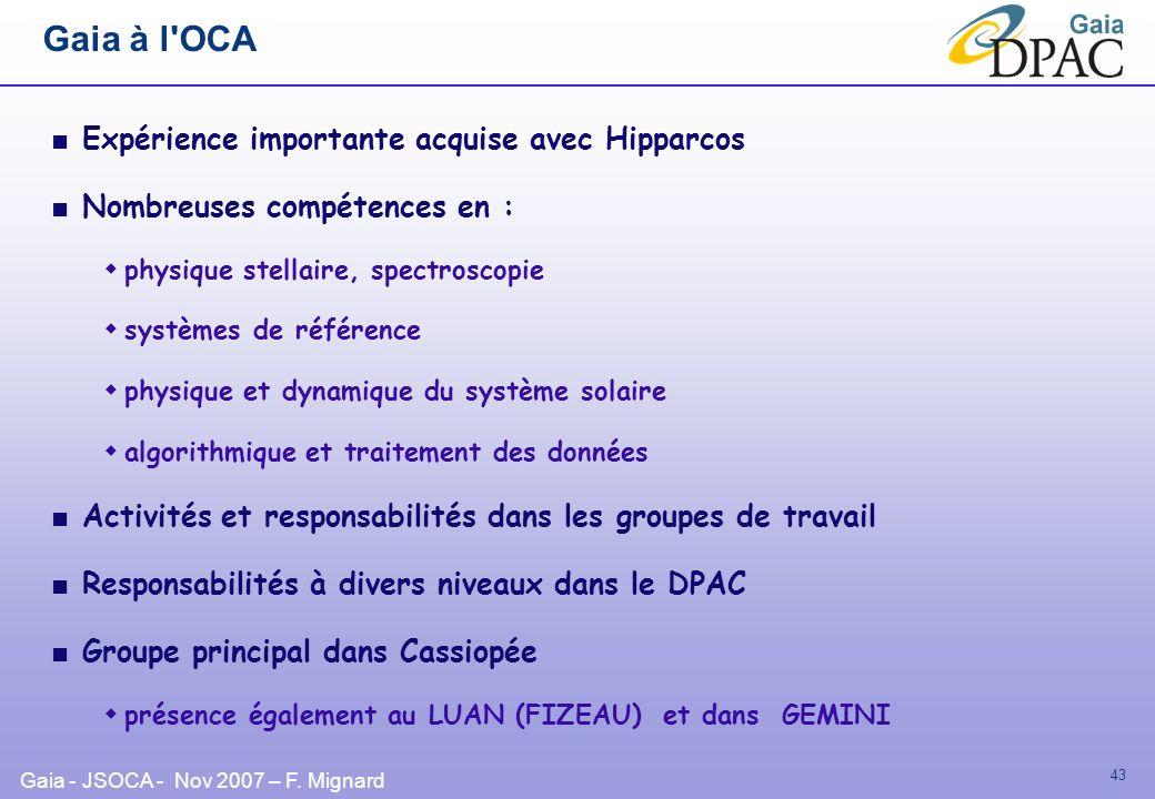 Gaia à l OCA Expérience importante acquise avec Hipparcos
