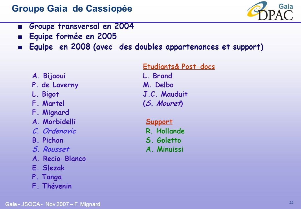 Groupe Gaia de Cassiopée
