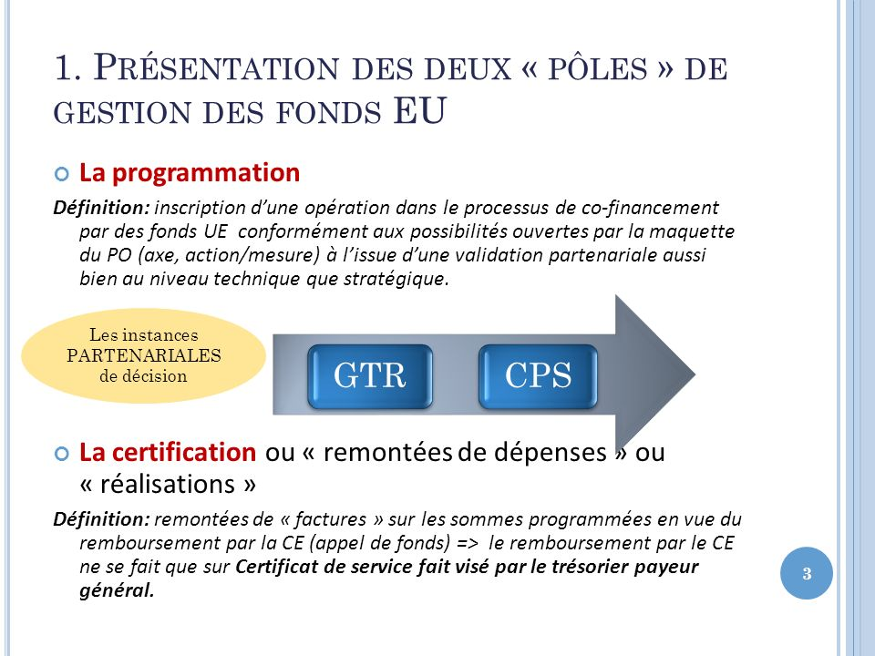 1. Présentation des deux « pôles » de gestion des fonds EU