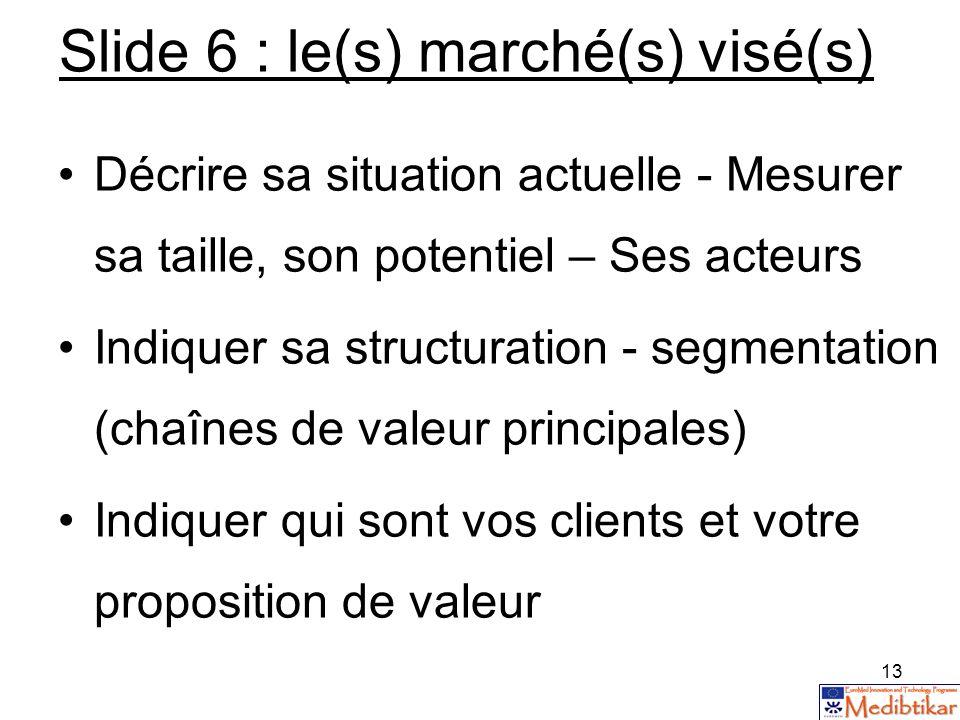 Slide 6 : le(s) marché(s) visé(s)