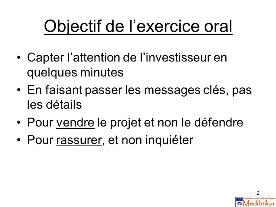 Objectif de l'exercice oral