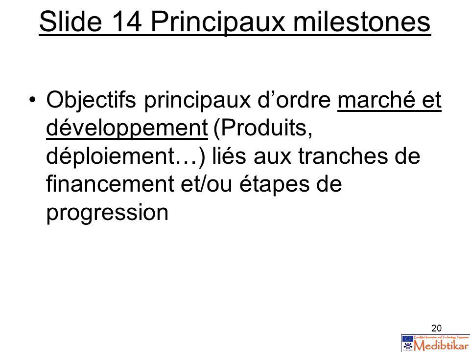 Slide 14 Principaux milestones