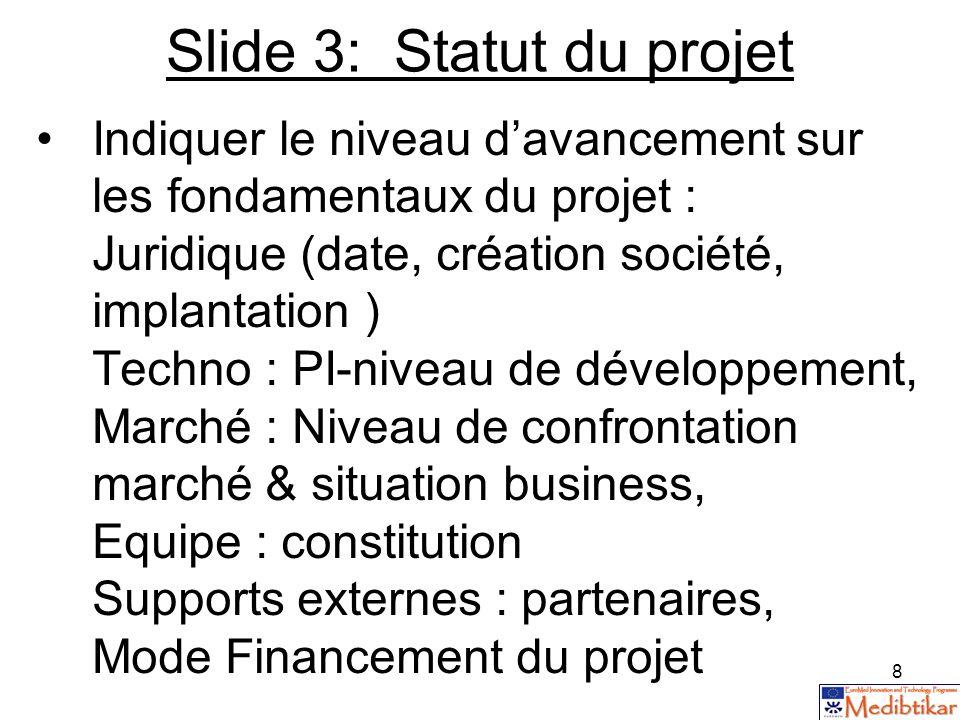 Slide 3: Statut du projet