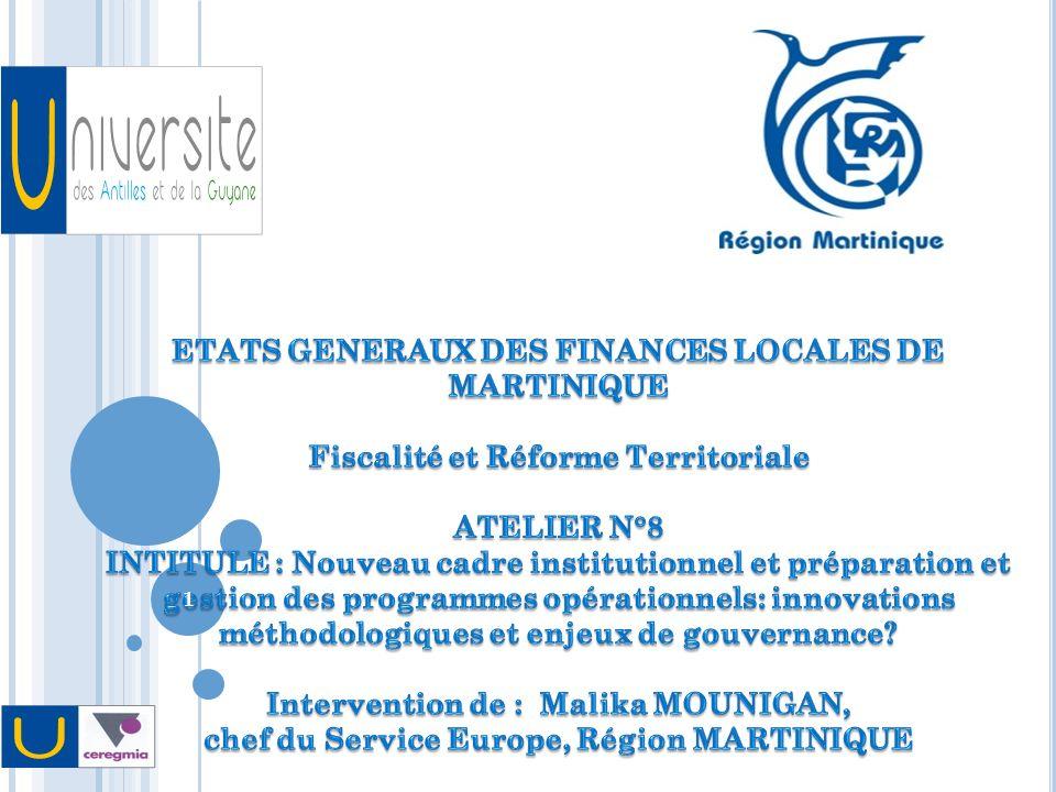 ETATS GENERAUX DES FINANCES LOCALES DE MARTINIQUE