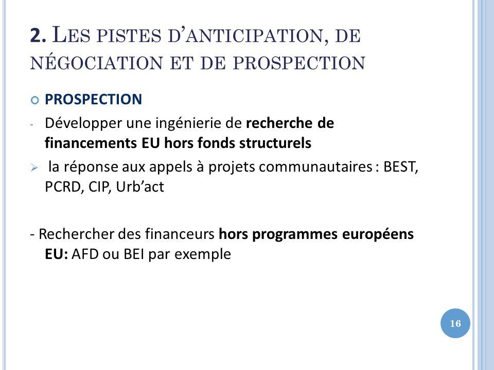 2. Les pistes d'anticipation, de négociation et de prospection