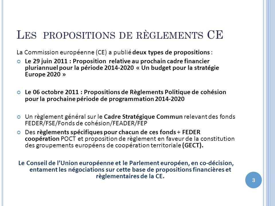 Les propositions de règlements CE