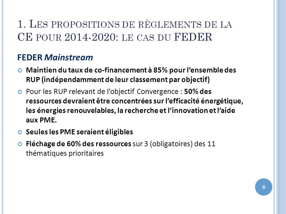 1. Les propositions de règlements de la CE pour 2014-2020: le cas du FEDER