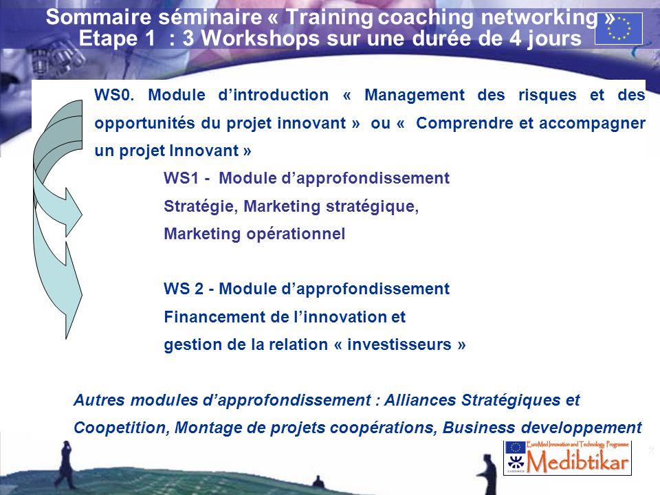 26/03/2017 Sommaire séminaire « Training coaching networking » Etape 1 : 3 Workshops sur une durée de 4 jours.