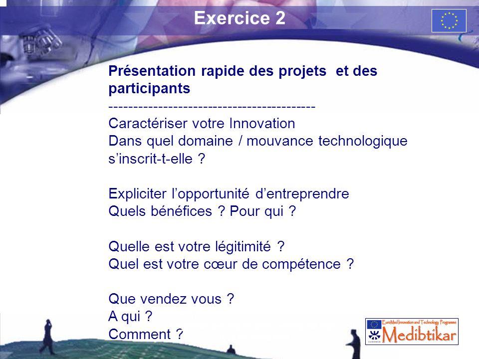 Exercice 2 Présentation rapide des projets et des participants