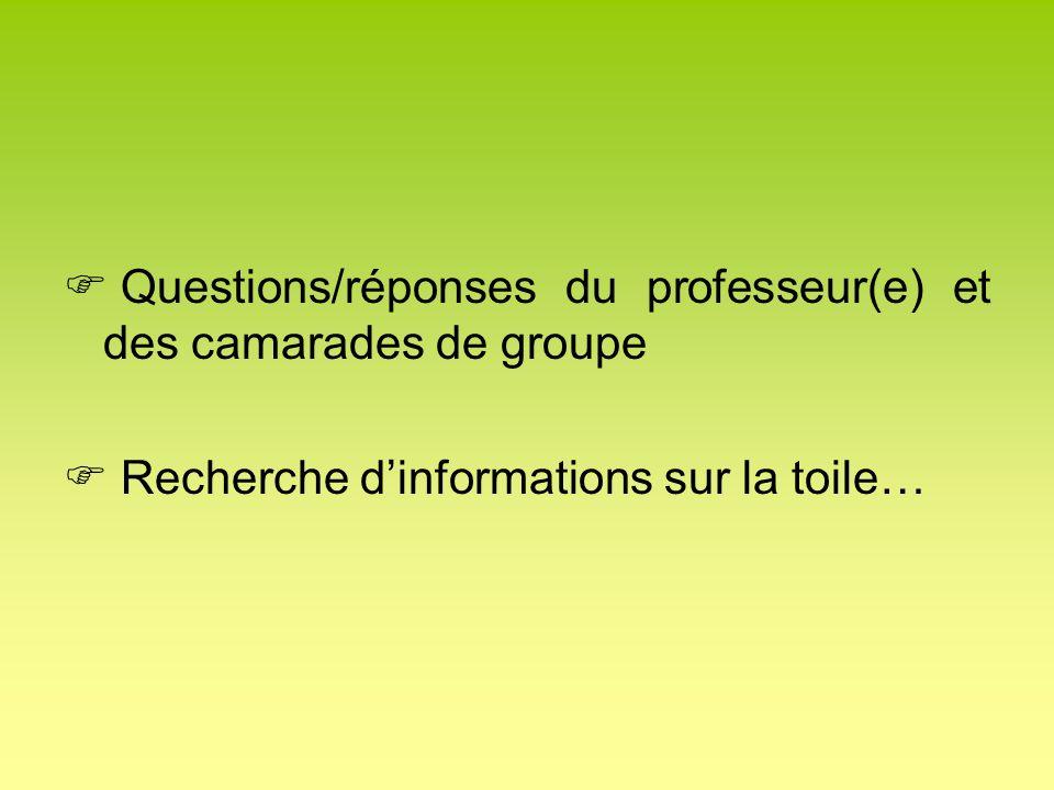Questions/réponses du professeur(e) et des camarades de groupe