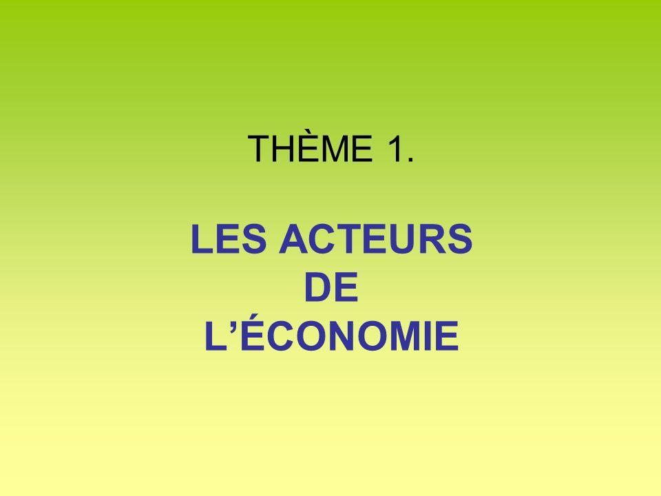 THÈME 1. LES ACTEURS DE L'ÉCONOMIE