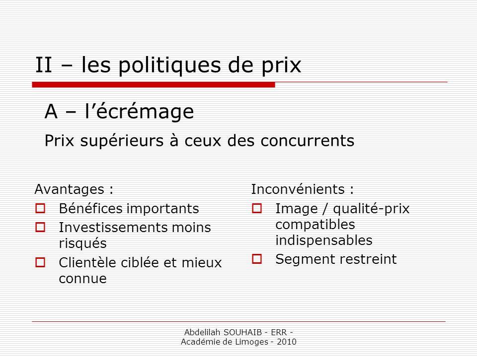 II – les politiques de prix