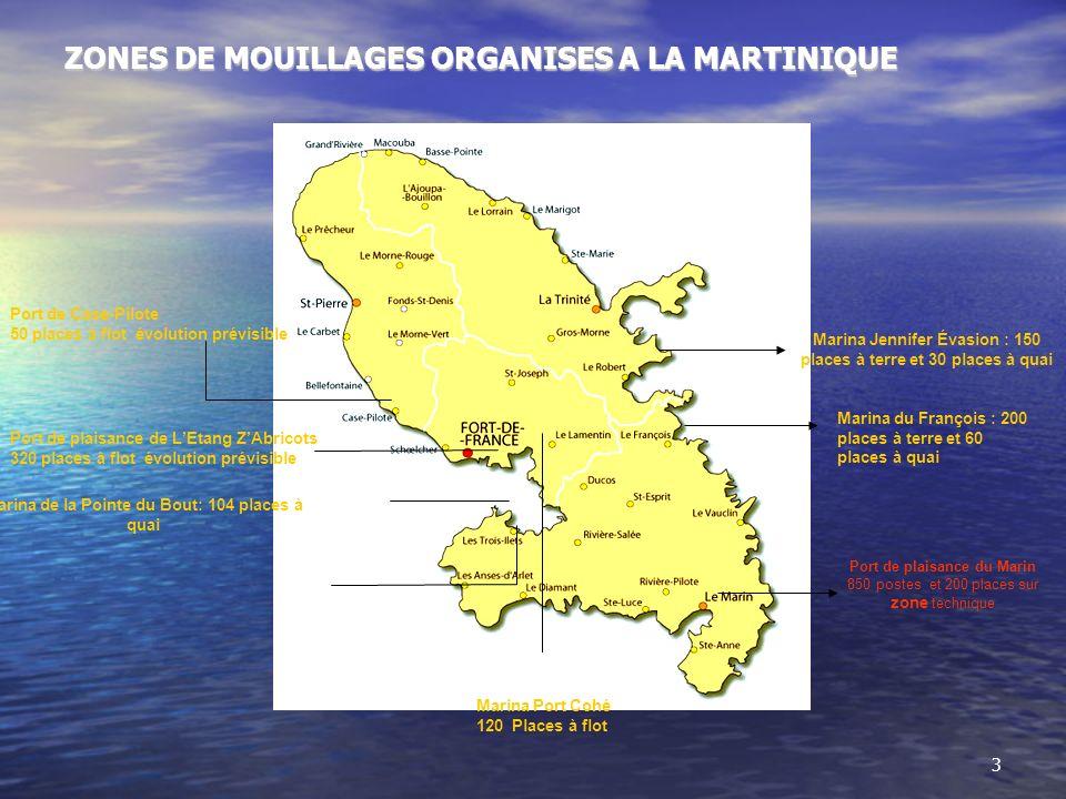 ZONES DE MOUILLAGES ORGANISES A LA MARTINIQUE