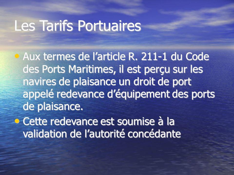 Les Tarifs Portuaires
