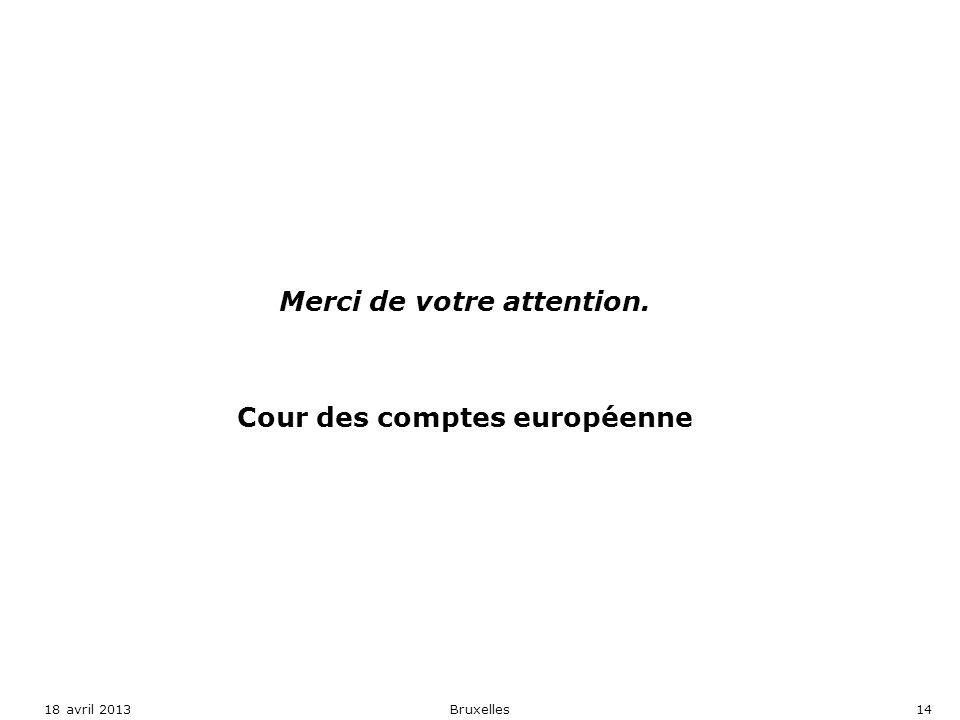 Merci de votre attention. Cour des comptes européenne