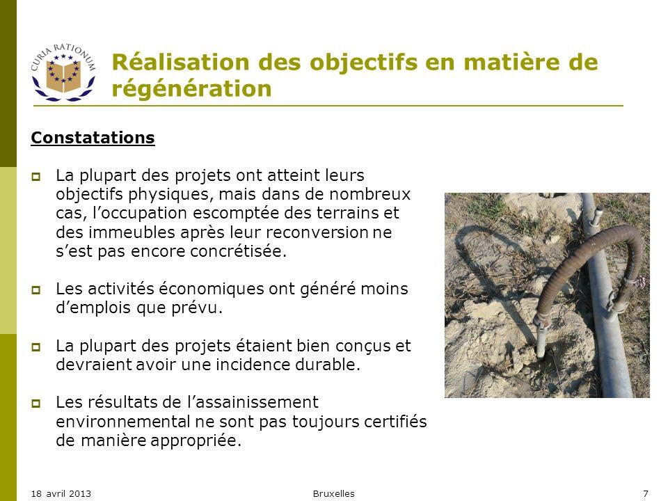 Réalisation des objectifs en matière de régénération