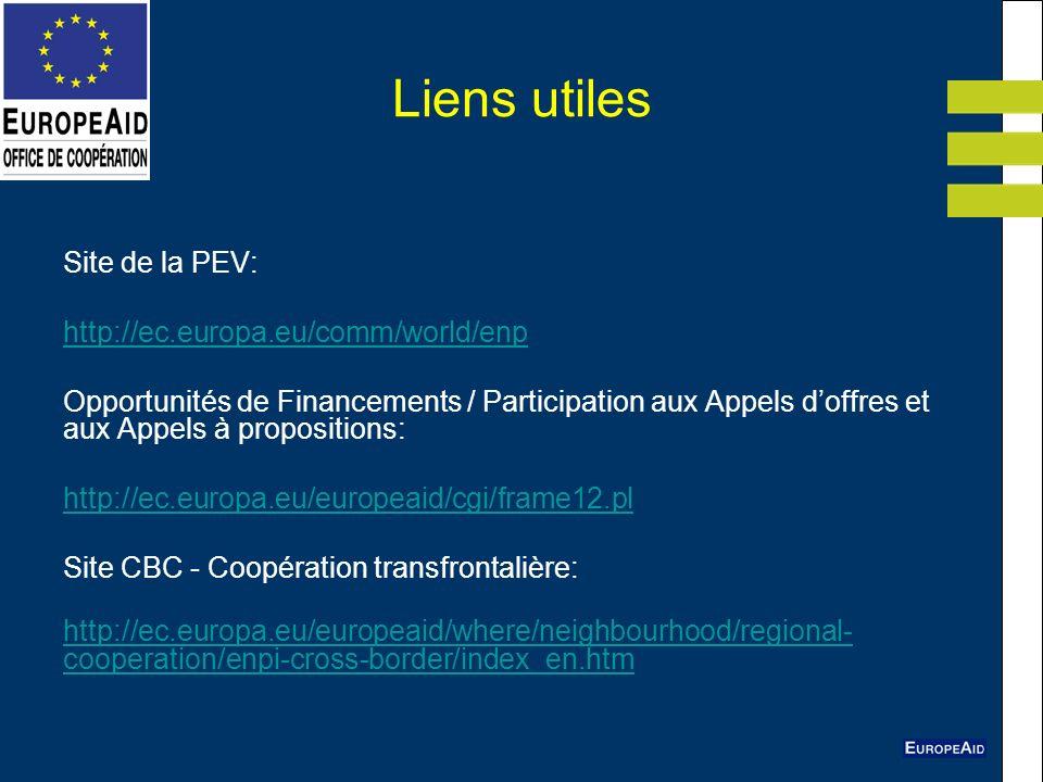 Liens utiles Site de la PEV: http://ec.europa.eu/comm/world/enp
