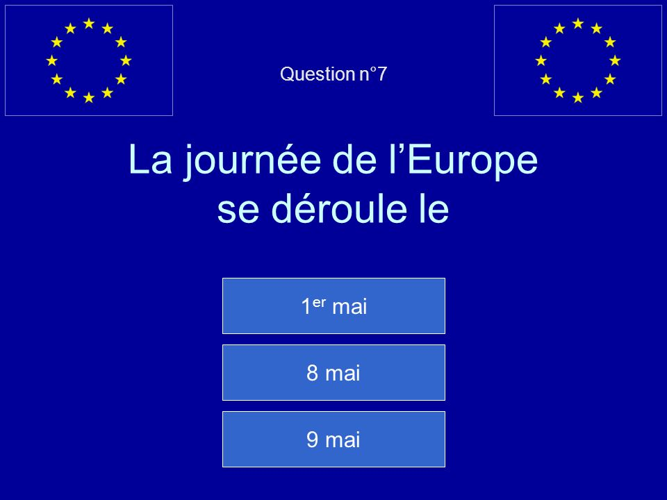 Question n°7 La journée de l'Europe se déroule le