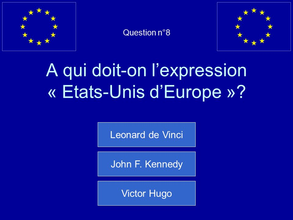 Question n°8 A qui doit-on l'expression « Etats-Unis d'Europe »
