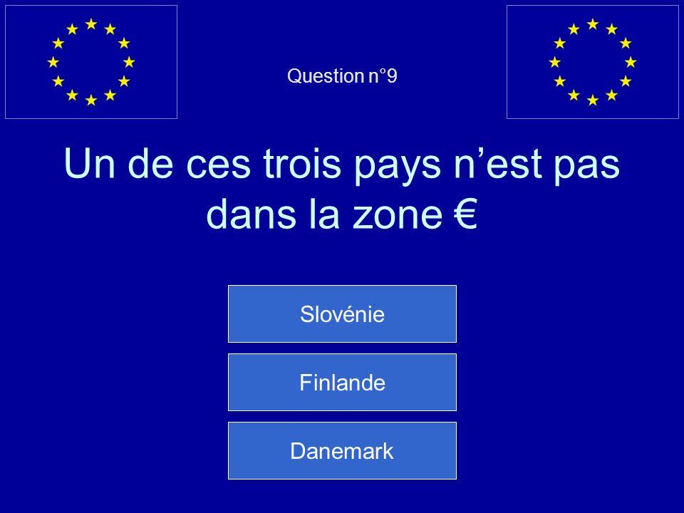 Question n°9 Un de ces trois pays n'est pas dans la zone €